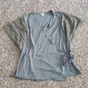 Olive Green Wrap Blouse